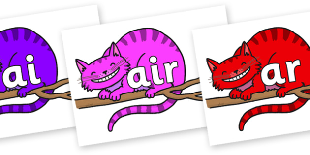 Phase 3 Phonemes on Cheshire Cats - Phonemes, phoneme, Phase 3, Phase three, Foundation, Literacy, Letters and Sounds, DfES, display