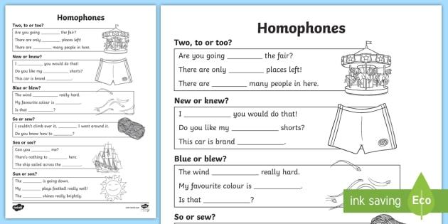 Homophones Worksheet - homophones, homophone worksheet, basic homophones
