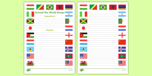 Around the World Recipe Writing Frame - around the world