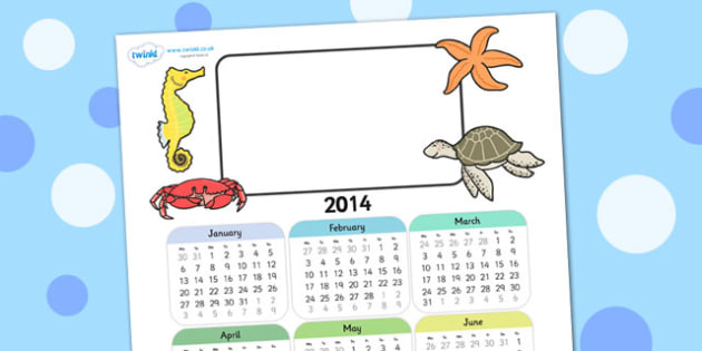2014 Under the Sea Themed Editable Calendar - under the sea, editable calendar, calendar, editable, themed calendar, date, photo calendar, themed editable