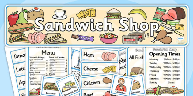 Sandwich Shop Role Play Pack-sandwich shop, role play, sandwich shop pack, role play pack, role play materials, shop role play, activities