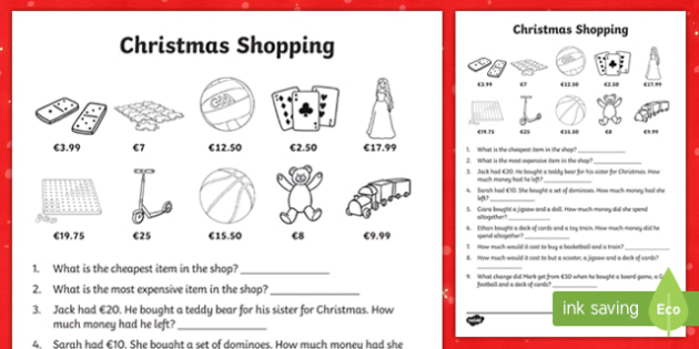 Christmas Shopping Activity Sheet-Irish