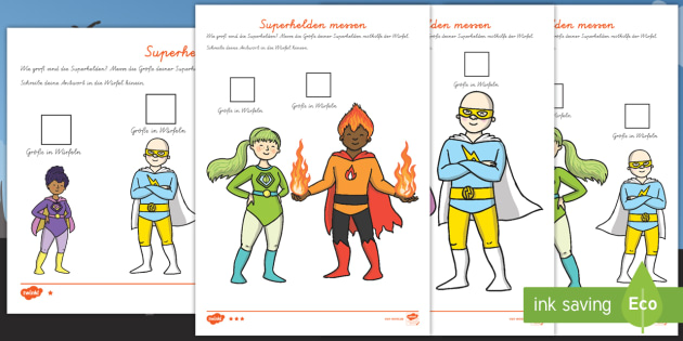 NEW * Superhelden messen Arbeitsblätter: Unterschiedliche