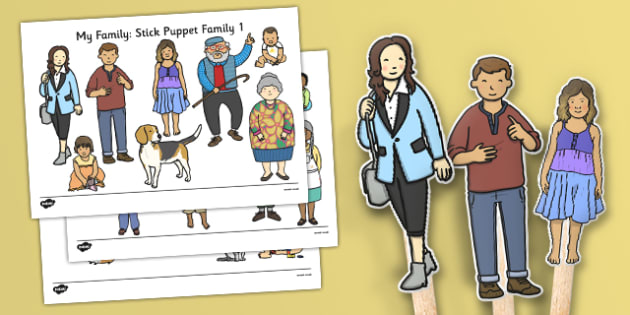 Family Stick Puppets - family, stick puppets, stick, puppets
