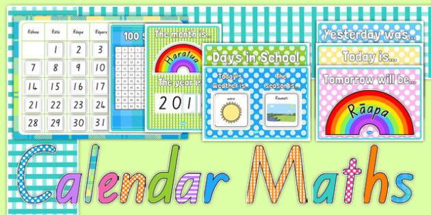 Ready Made Calendar Maths Display Pack Te Reo Māori - māori calendar