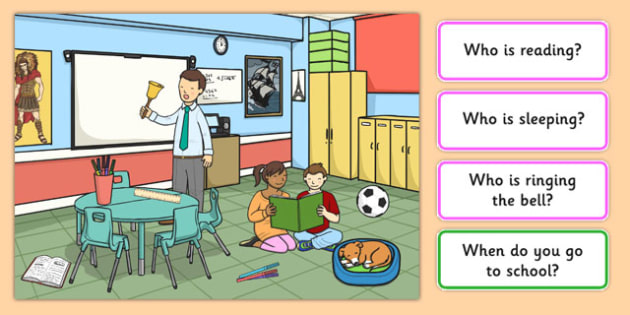 School Picture and Questions - Question words, Listening, Receptive language, expressive language, Language activity