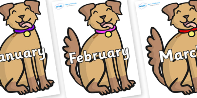 Months of the Year on Dogs - Months of the Year, Months poster, Months display, display, poster, frieze, Months, month, January, February, March, April, May, June, July, August, September