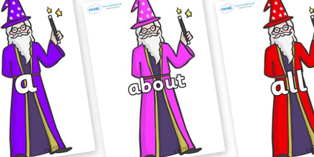 100 High Frequency Words on Wizards - High frequency words, hfw, DfES Letters and Sounds, Letters and Sounds, display words