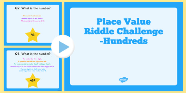 Place Value Hundreds Riddle Challenge PowerPoint - place value, hundeds, riddle, challenge