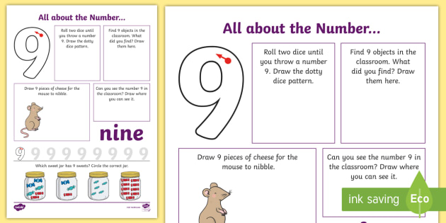 New All About The Number 9 Worksheet Number Maths Mathematics