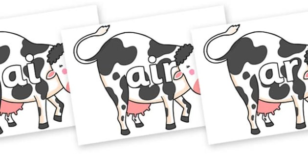 Phase 3 Phonemes on Hullabaloo Cow to Support Teaching on Farmyard Hullabaloo - Phonemes, phoneme, Phase 3, Phase three, Foundation, Literacy, Letters and Sounds, DfES, display