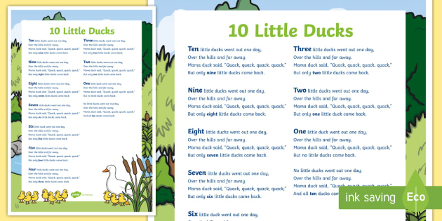 10 Little Ducks A2 Display Poster - Mathematics, Rhyming Songs, ducks, numbers, counting, rhyme, song, ten little ducks, counting back,