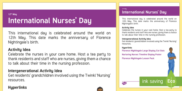 International Nurses Day Adult Guidance - Calendar Planning May 2017, Activity Co-ordinator, Support, Ideas, Elderly Care, Care Homes, Interna