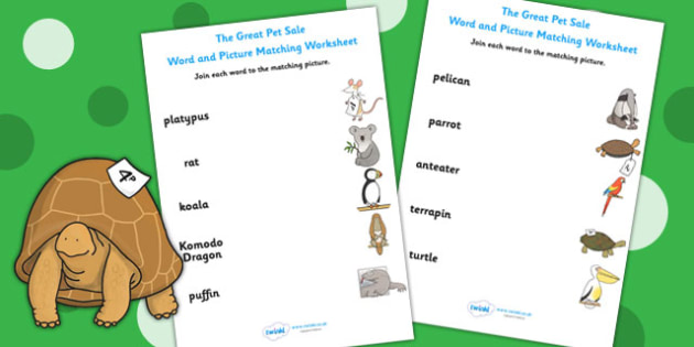 Word and Picture Matching Worksheet to Support Teaching on The Great Pet Sale - pets
