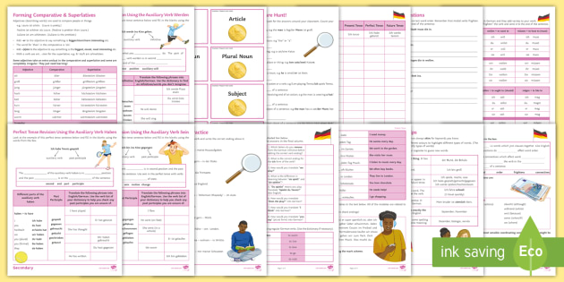 Differentiated Reference Sheets For Ks3 German Grammar Grammar