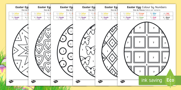 NEW Easter Egg Colouring By Numbers Sheets English Portuguese