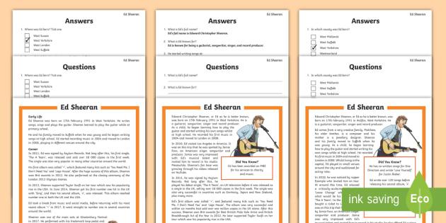 ks2 ed sheeran reading comprehension activity music. Black Bedroom Furniture Sets. Home Design Ideas