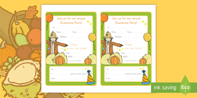 Scarecrow Party Editable Invitation Cards Scarecrow Party