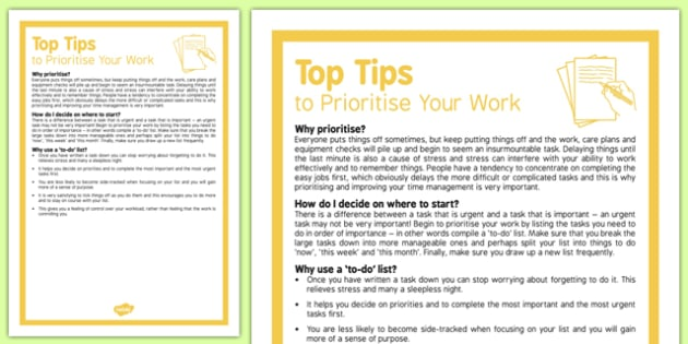 Care Staff Top Tips How to Prioritise Your Work - care staff, top tips, prioritise, work