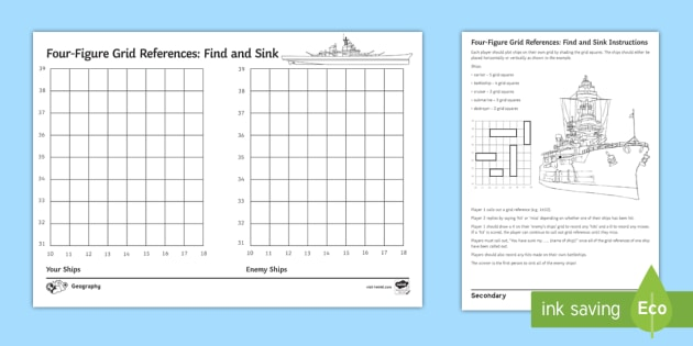 New Four Figure Grid References Find And Sink Game Four Figure