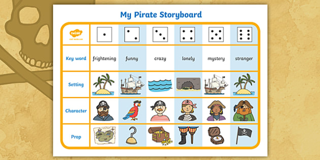 pirate theme story writing dice activity pirate writing activity rh twinkl co uk