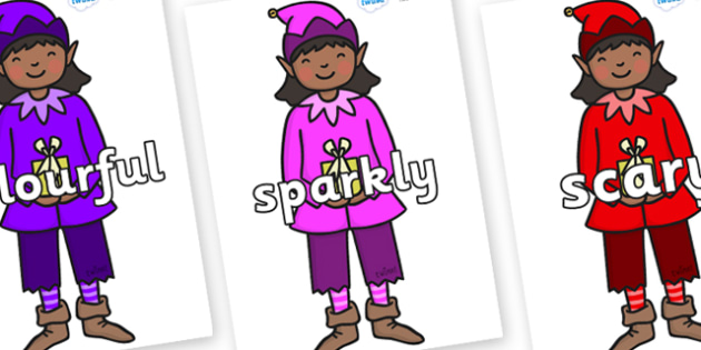 Wow Words on Girl Elves (Multicolour) - Wow words, adjectives, VCOP, describing, Wow, display, poster, wow display, tasty, scary, ugly, beautiful, colourful sharp, bouncy