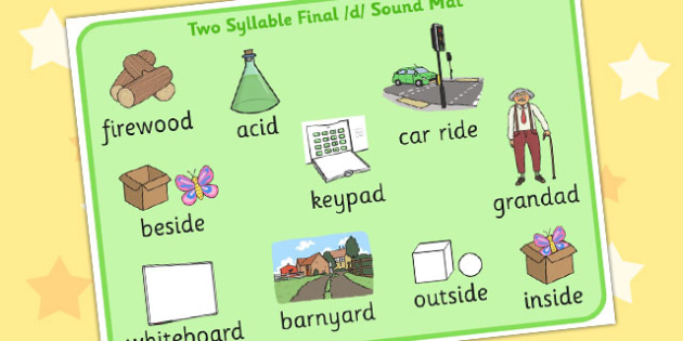 Two Syllable Final 'D' Sound Word Mat 2 - sounds, words, visual