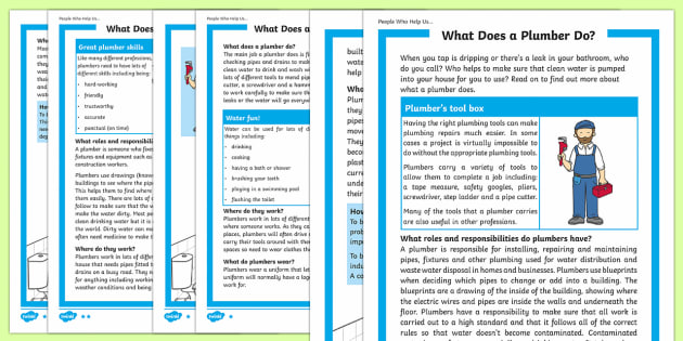 What Does A Plumber Do? Differentiated Fact File