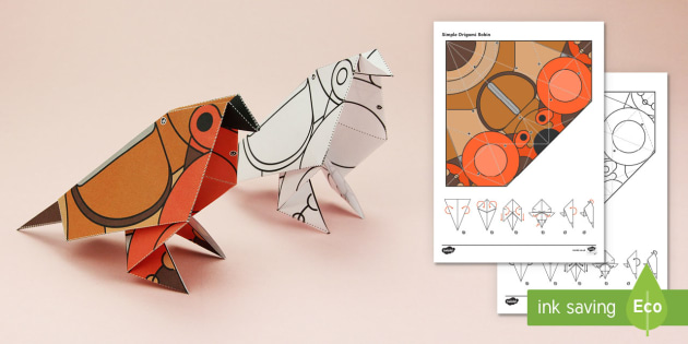 Simple Origami Robin Winter Christmas Paper Craft - Robin, paper craft, 3D, 3D paper craft, 3D model, waitrose advert, British wildlife
