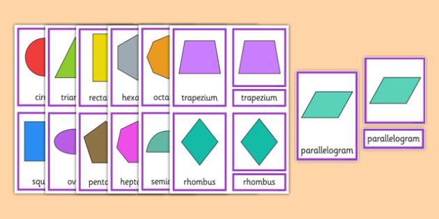 2D Shape Three Part Cards