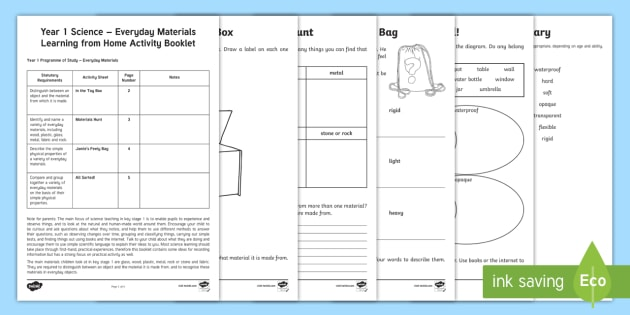 Year 1 Science Learning from Home (Everyday Materials) Activity Booklet - homework, matter, solid, objects, DT, technology, manufacture, sensory
