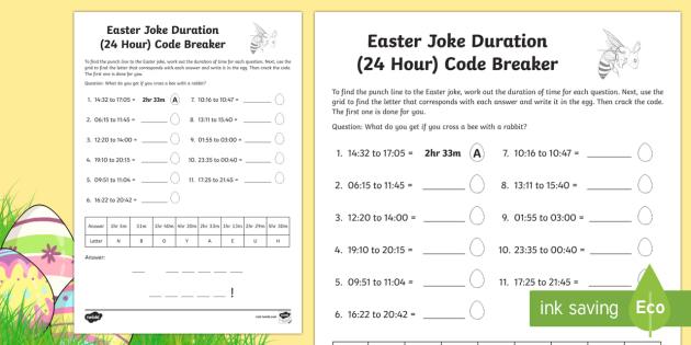 Easter Joke Time Duration 24 Hour Clock Code Breaker Worksheet