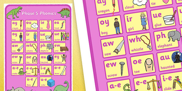 Dinosaur Themed Phase 5 Phonics Large A2 Poster - dinosaur, phase 5, phonics, poster