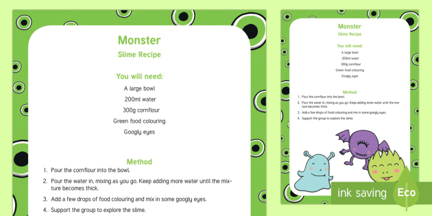 graphic about Slime Science Printable Report named Monster Slime Recipe - sensory perform, slime, monsters, Shrek