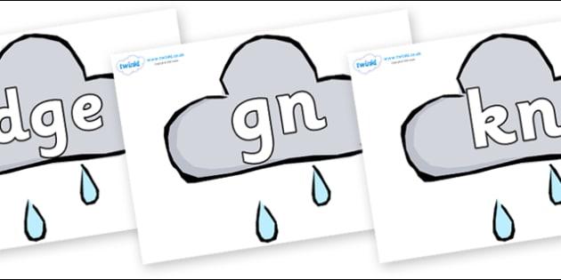 Cursive Silent Letters On Weather Symbols Rain