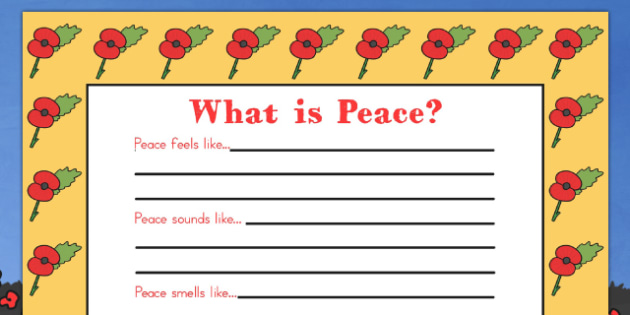 Remembrance Day What Is Peace Writing Frame - australia, peace