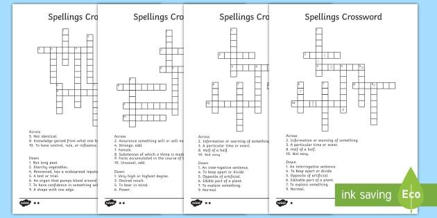 Year 3 4 Statutory Spelling List Crossword Pack Word List
