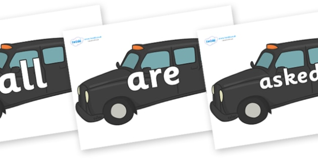 Tricky Words on Taxi Cabs - Tricky words, DfES Letters and Sounds, Letters and sounds, display, words