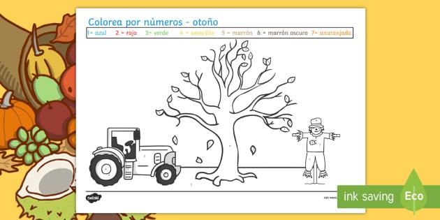 Colorear con Números: Otoño - Otoño Hoja para colorear con