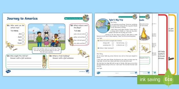 KS1 A Journey to America Focused Reading Skills Comprehension