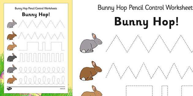 bunny hop pencil control worksheets easter fine motor skills. Black Bedroom Furniture Sets. Home Design Ideas