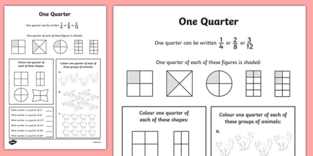 Fractions Quarter Activity Sheet - numeracy, place value, maths, math, worksheet, Fraction, quarter, whole, group