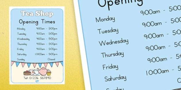Tea Shop Role Play Opening Times - australia, tea shop, role-play, opening times