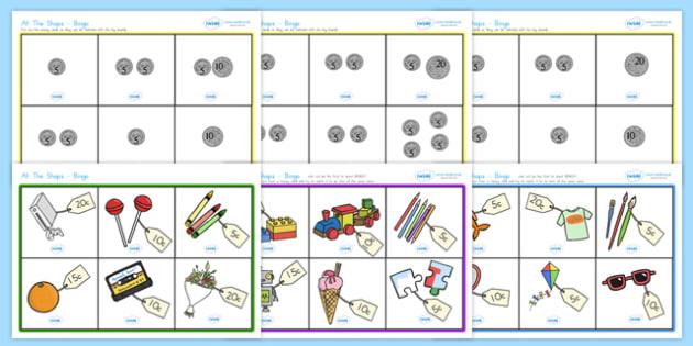 Toy Shop Bingo - toys, toy shop, bingo, lotto, games, class games, coins up to 25c.