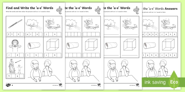 Find And Write The U E Words Differentiated Activity Sheets