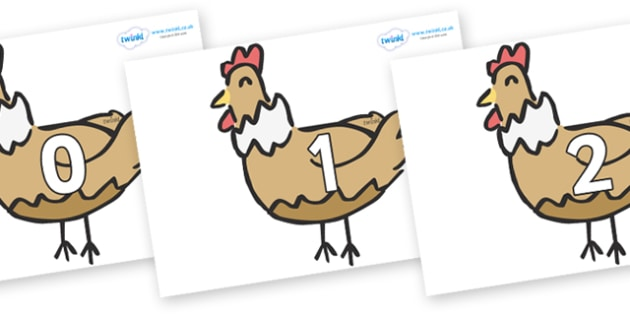 Numbers 0-31 on French Hens - 0-31, foundation stage numeracy, Number recognition, Number flashcards, counting, number frieze, Display numbers, number posters