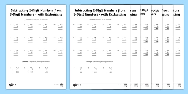 Subtracting 2 Digit and 3 Digit Numbers Column Exchanging Y3