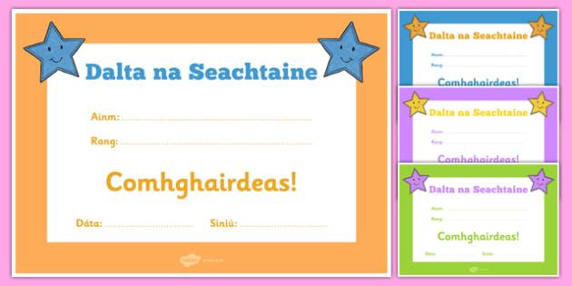 Dalta na Seachtaine Certificate-Irish