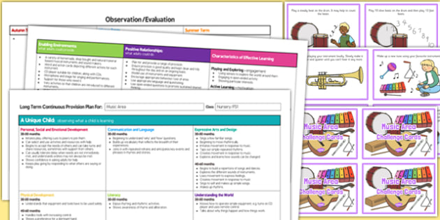Music Area Editable Continuous Provision Plan and Challenge Cards Pack Nursery FS1