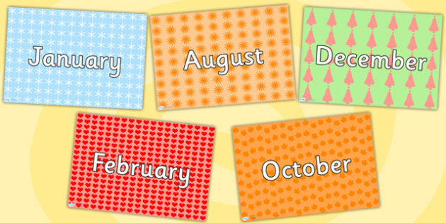 Patterned Months of the Year Posters - month, visual timetable